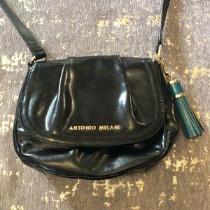 Antonio Melani Black Leather Small Crossbody